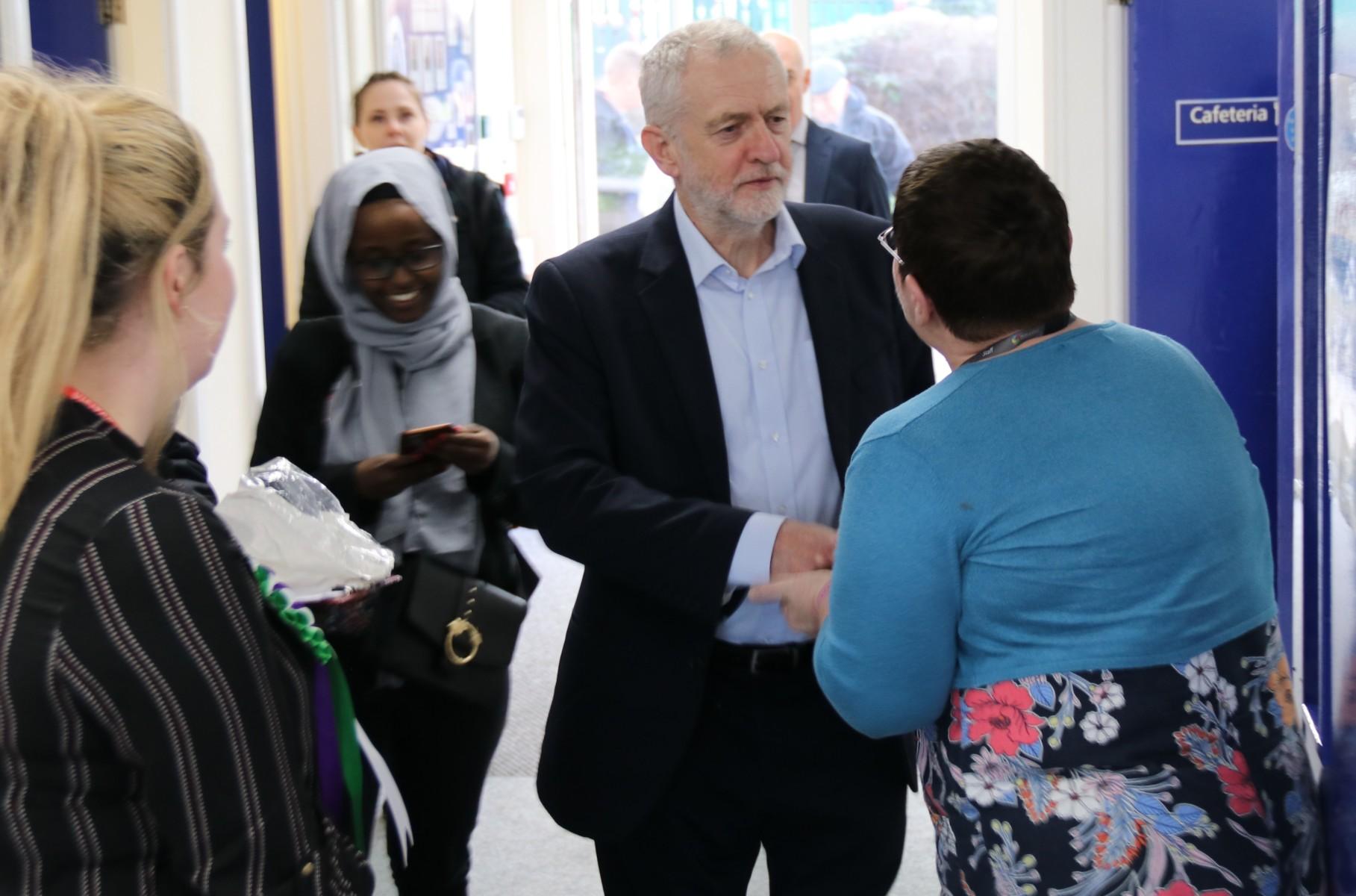 Jeremy Corbyn visits Hucknall Sixth Form Centre as part of International Women's Day celebrations